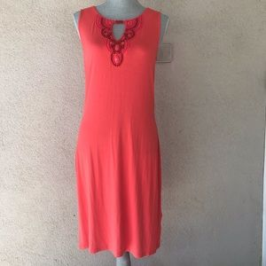Dana Bachman Coral Beaded Summer Dress Small